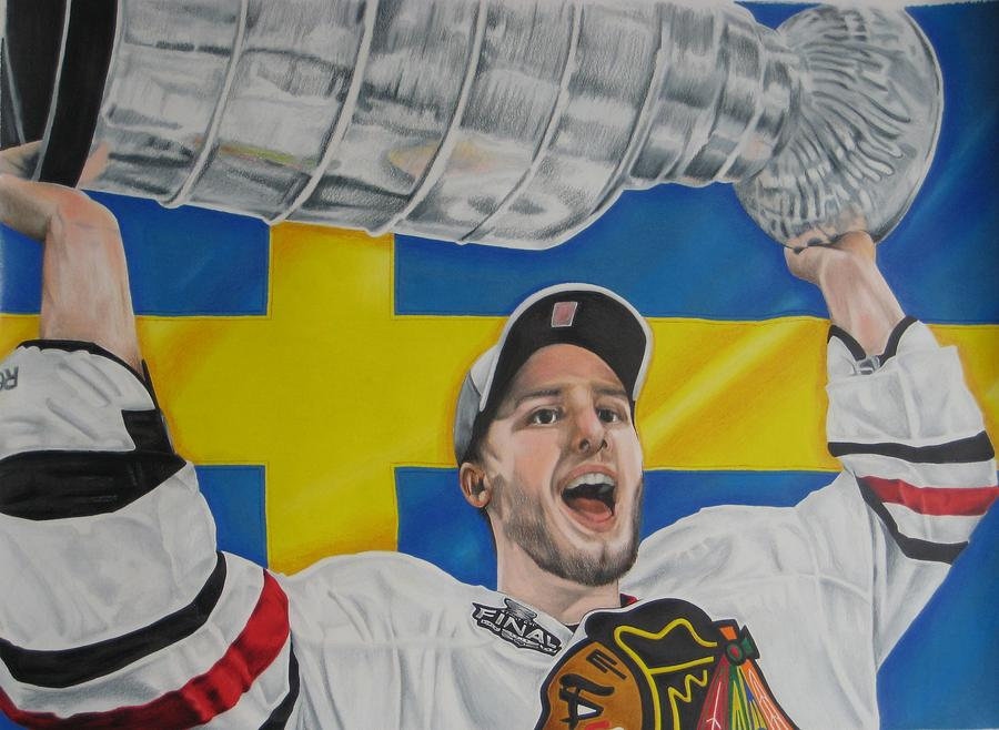 Hjalmarsson Drawing - Niklas Hjalmarsson With Cup by Brian Schuster