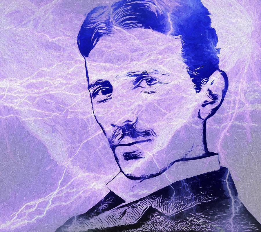 Electric Mind Painting - Nikola Tesla Electric Mind by Dan Sproul