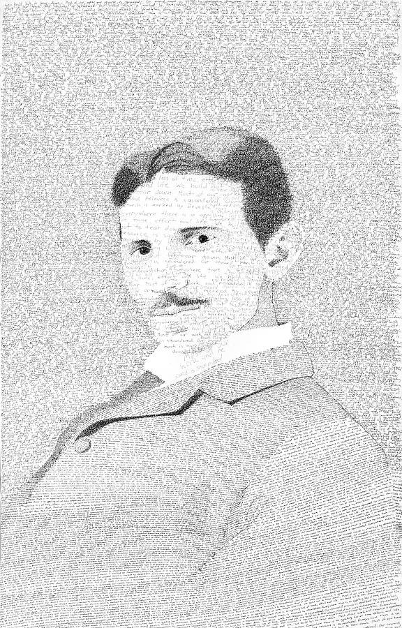 Nikola Tesla Drawing - Nikola Tesla In His Own Words by Phil Vance
