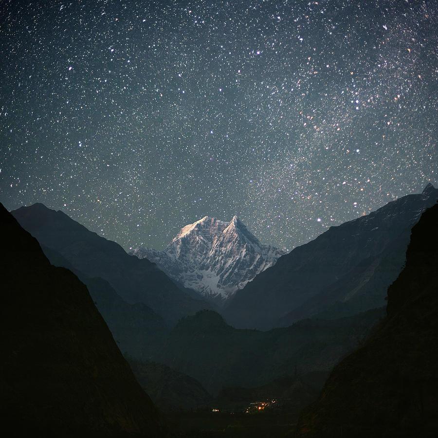 Square Photograph - Nilgiri South (6839 M) by Anton Jankovoy