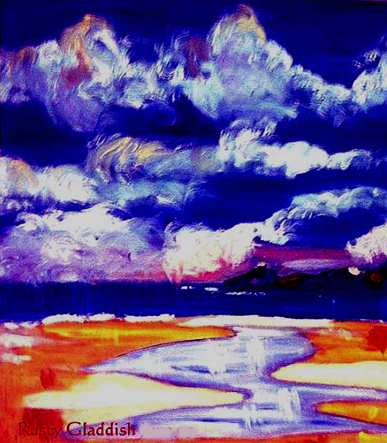 Seascape Painting - Nimbus Clouds Over Mumbles by Rusty Gladdish