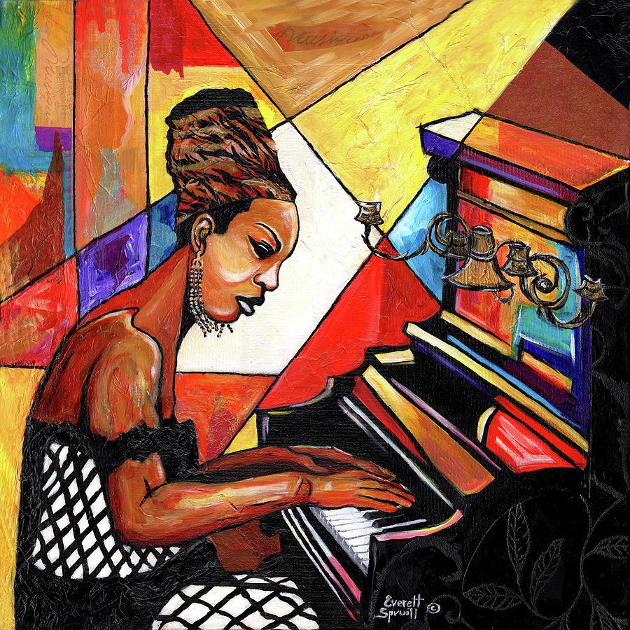 Cubism Mixed Media - Nina Simone by Everett Spruill
