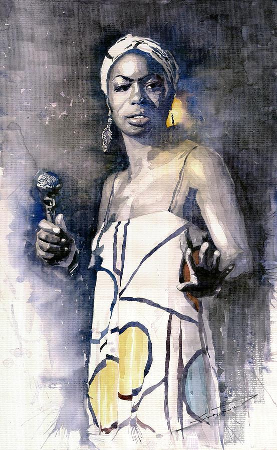 Watercolor Painting - Nina Simone by Yuriy  Shevchuk