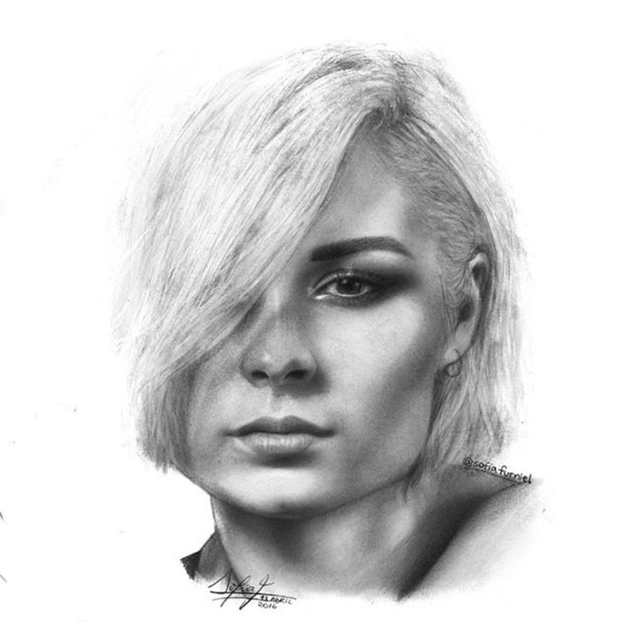 Portrait Drawing - Nina Nesbitt Drawing By Sofia Furniel by Jul V