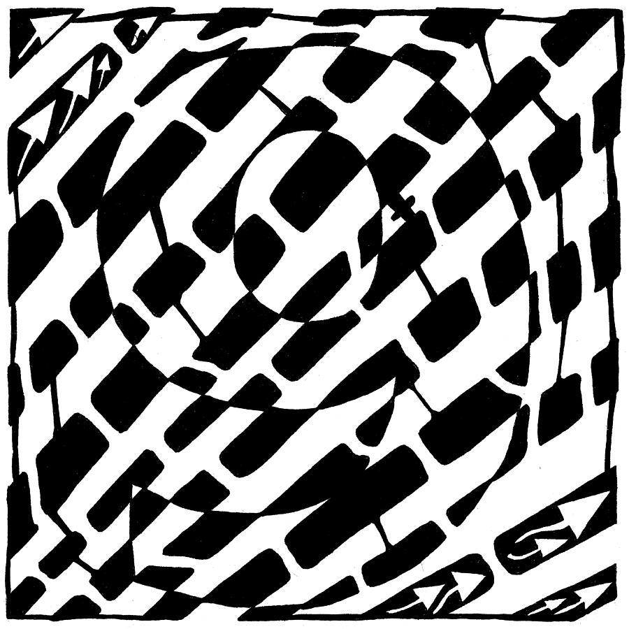 Maze Drawing - Nine Maze by Yonatan Frimer Maze Artist