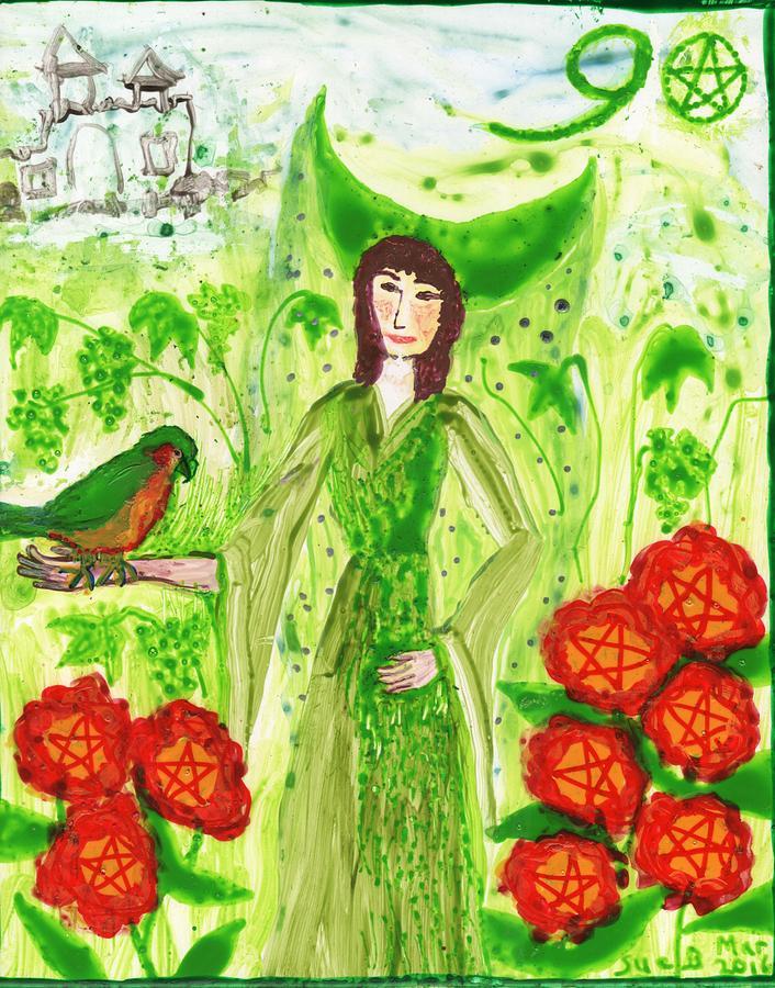 Tarot Painting - Nine Of Pentacles Illustrated by Sushila Burgess