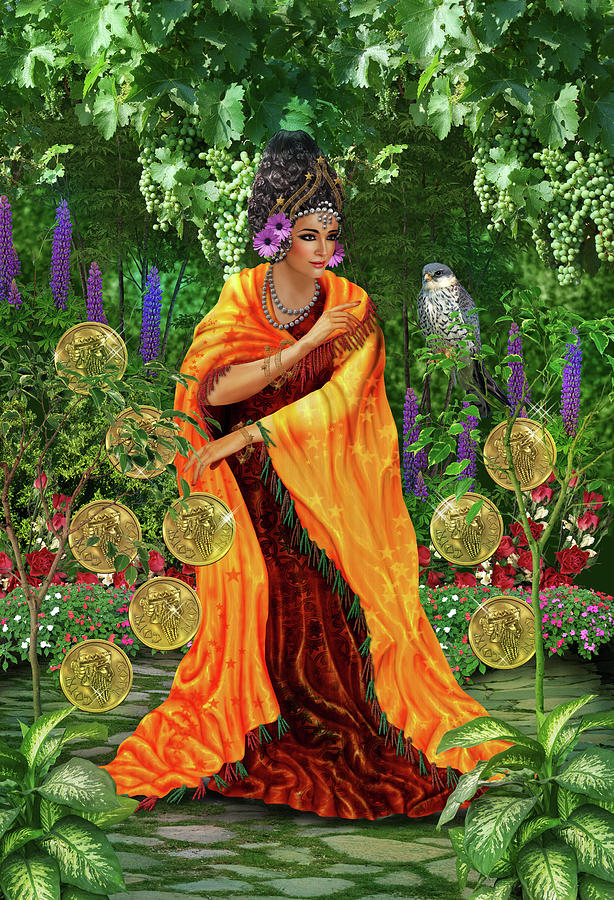 Tarot Digital Art - Nine of Pentacles by Roxana Paul