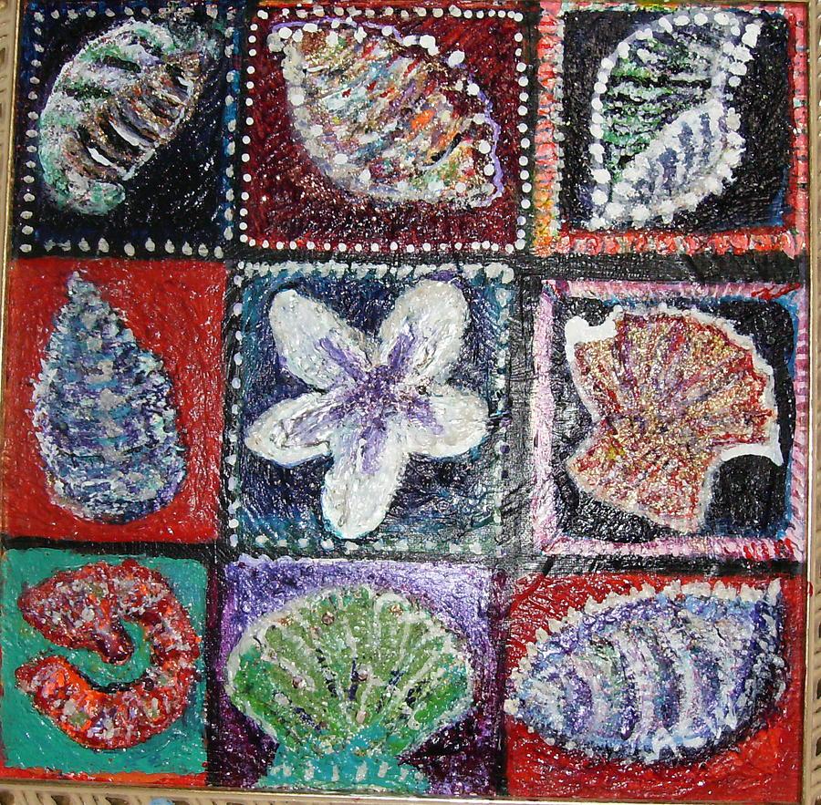 Shells Painting - Nine Pretty Shells No Frame by Anne-Elizabeth Whiteway