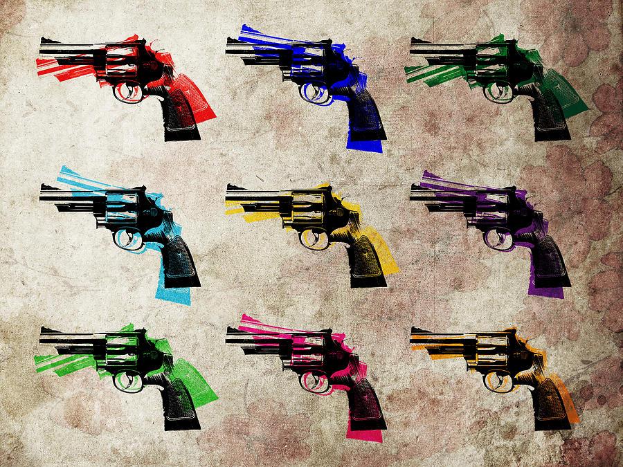 Revolver Digital Art - Nine Revolvers by Michael Tompsett
