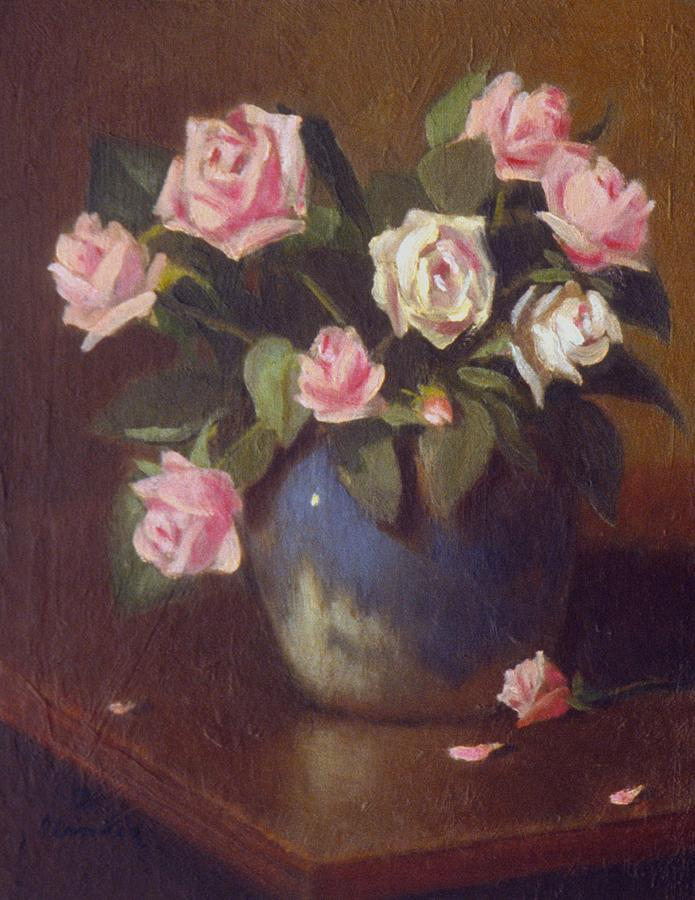 Nine Roses In Blue And White Vase Painting by David Olander