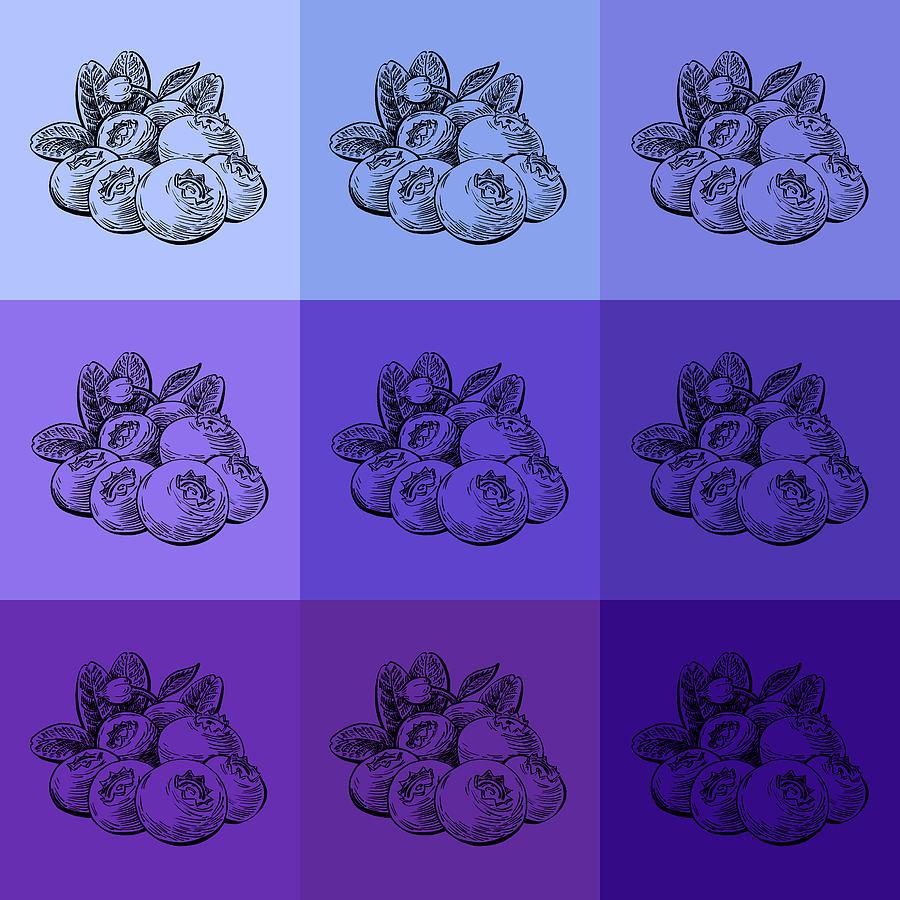 Blueberries Painting - Nine Shades Of Blueberries by Irina Sztukowski