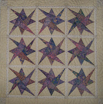 Art Quilt Tapestry - Textile - Nine Stars Dipping Their Toes In The Sea Sending Ripples To The Shore by Pam Geisel
