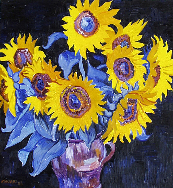 Sunflower Painting - Nine Sunflowers With Black Background by Vitali Komarov