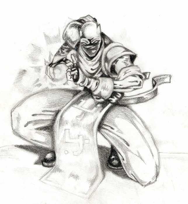 Pencil Drawing - Ninja1-concept by Kyle Adamache