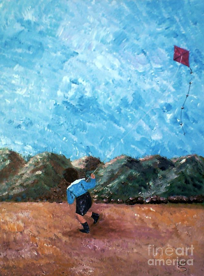 Nino Volando Chiringa Painting by Iris  Mora