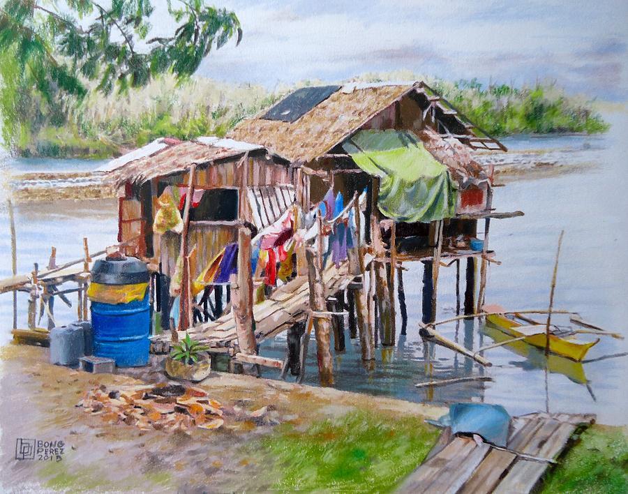 Nipa Hut At The Bay Painting by Bong Perez
