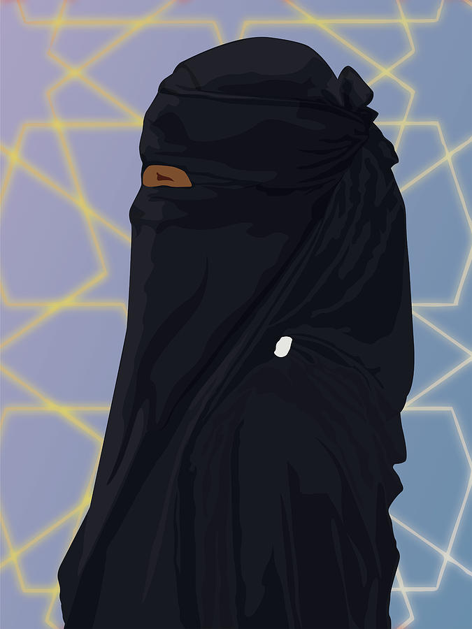 Muslim Digital Art - Niqabi Center by Scheme Of Things