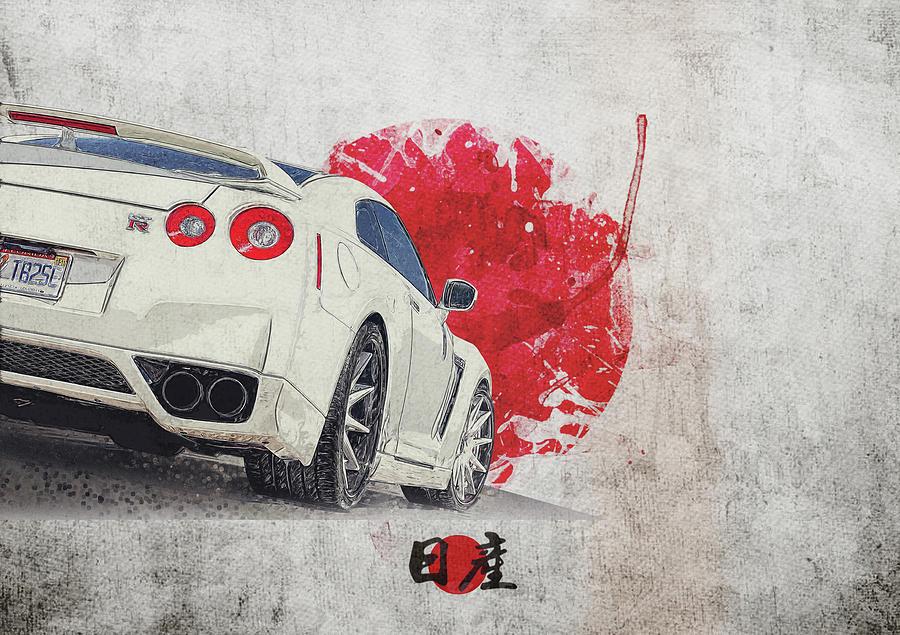History Digital Art - Nissan Gt-r R35 - Skyline - Cba-r35 - Race Car by Yurdaer Bes