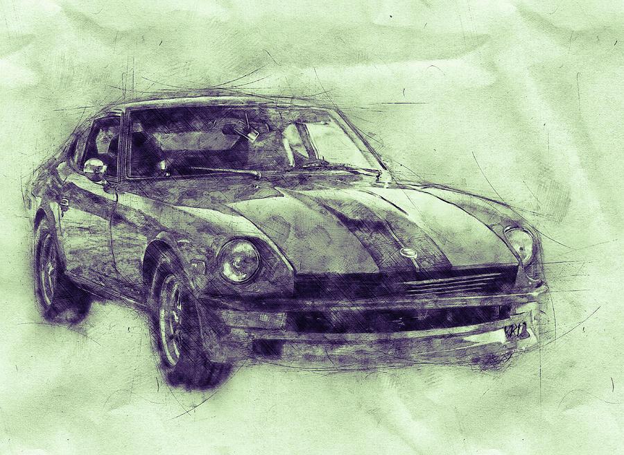 Nissan S130 - Datsun 280zx - Nissan Fairlady Z 3 - Automotive Art - Car Posters Mixed Media