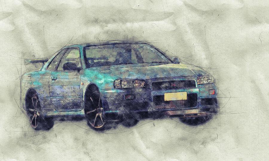 Nissan Skyline Gt-r 1 - Spors Car - Automotive Art - Car Posters Mixed Media