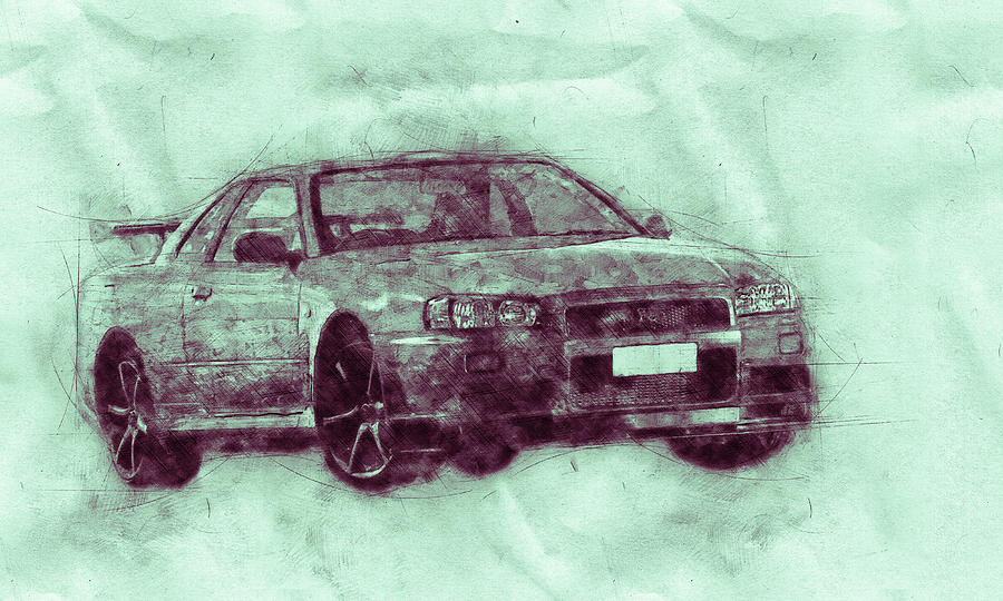 Nissan Skyline Gt-r 3 - Spors Car - Automotive Art - Car Posters Mixed Media