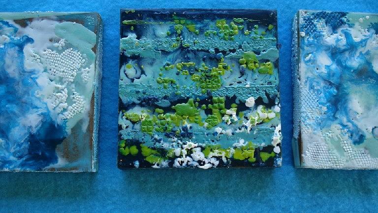 Encaustic Painting - Nitrate Leaching Detail by Kate Padberg
