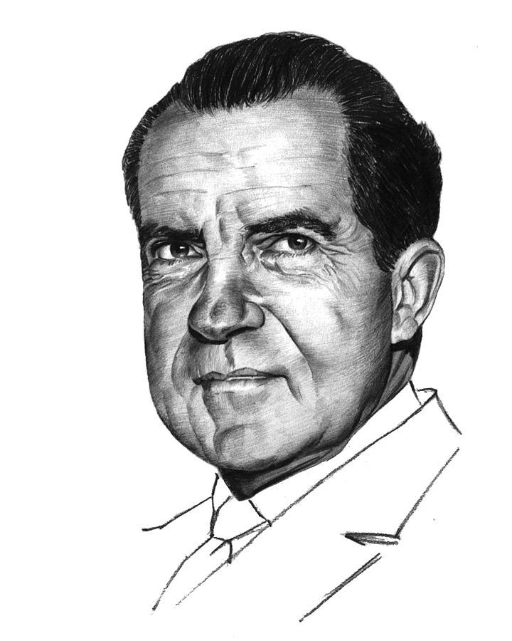 Nixon Drawing - Nixon by Harold Shull