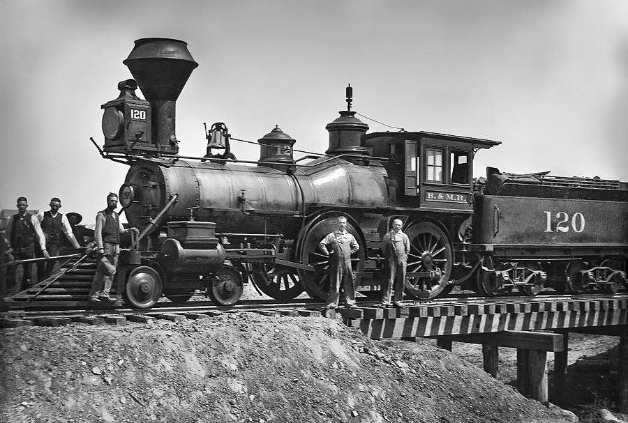 Locomotive Photograph - No. 120 Early Railroad Locomotive by Daniel Hagerman
