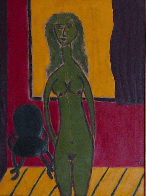 Standing Nude Painting - No. 15 by Vijayan Kannampilly