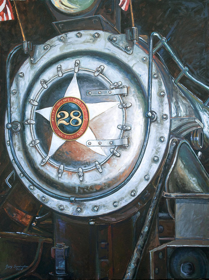 Train Painting - No. 28 In The Shed by Gary Symington