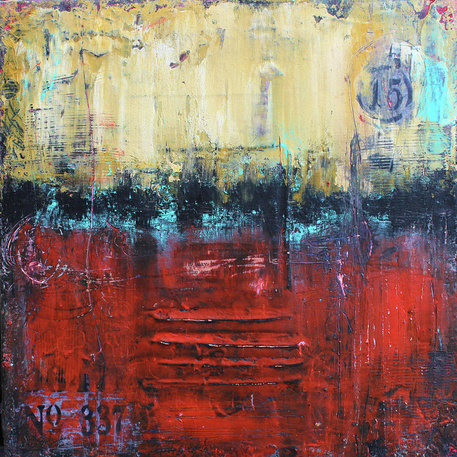 Red Mixed Media - No. 337 by Patricia Lintner