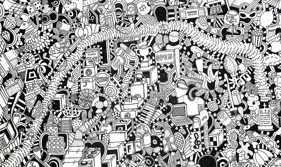 Black Drawing - No Boundaries by Chelsea Geldean
