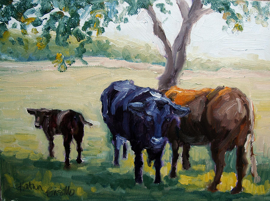 Cattle Painting - No Butts About It by Kathy Busillo