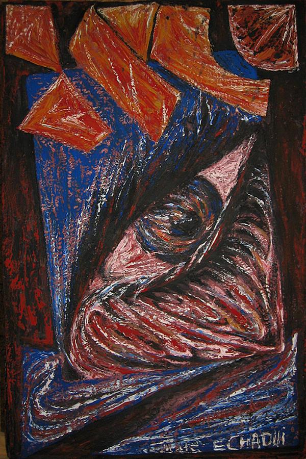 No Caption 02 2009 Painting by Halima Echaoui