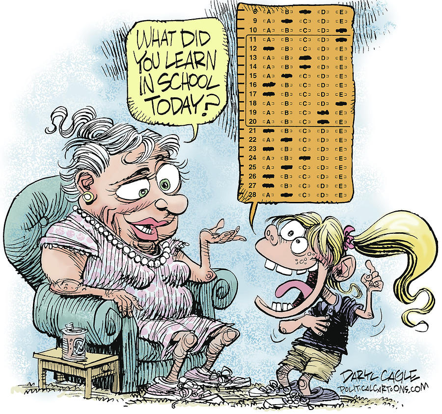 Standardized Testing Drawing - No Child Left Behind Testing by Daryl Cagle