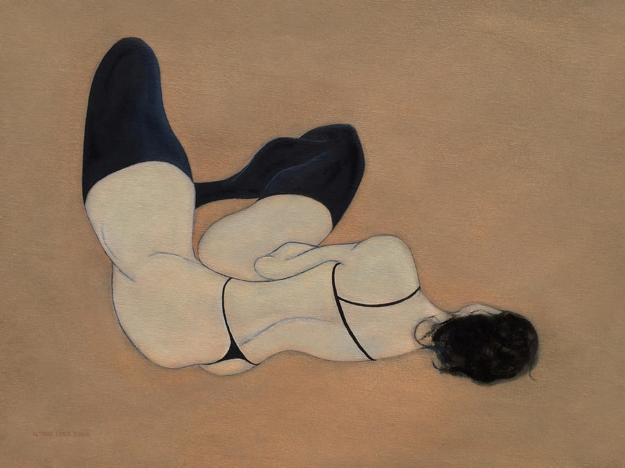 Female Nude Painting - No Couture Needed by Antonio Ortiz