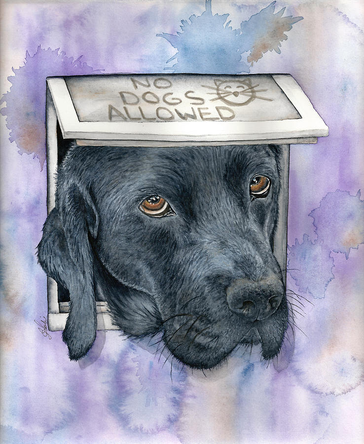Dog Painting - No Dogs Allowed by Julie Senf