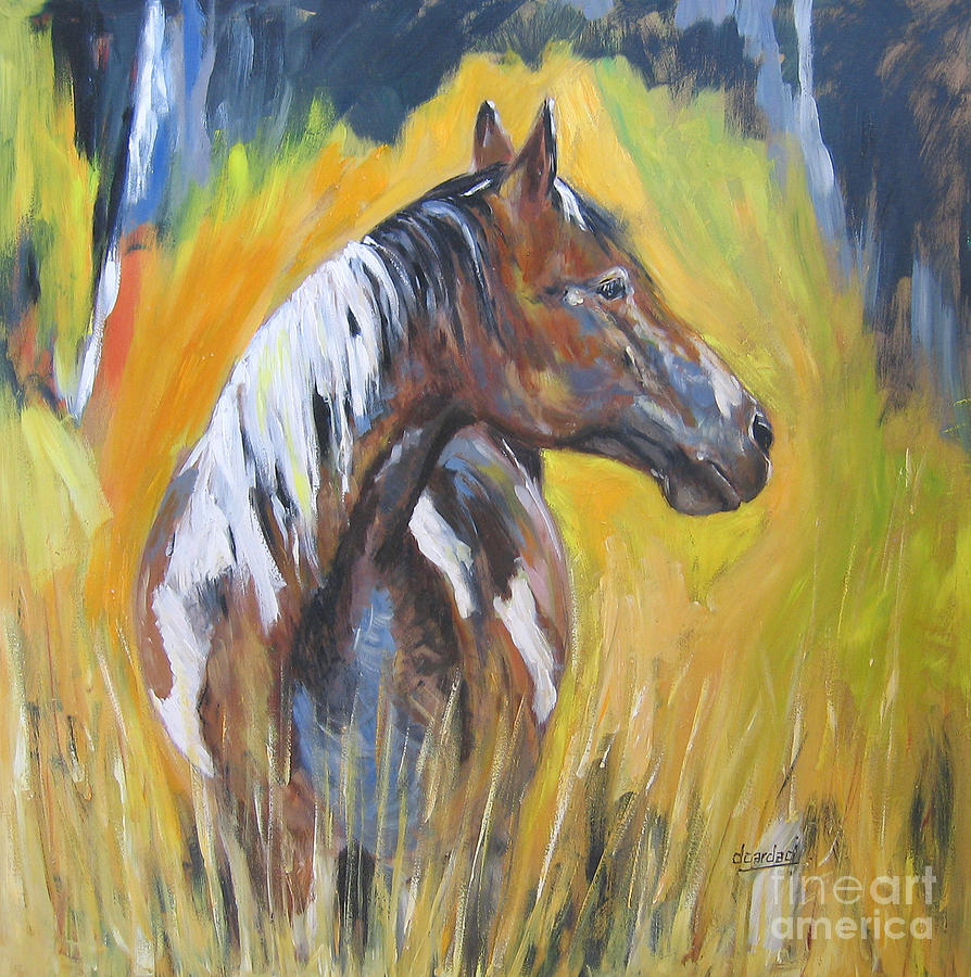 Horses Painting - No Fences by Debora Cardaci