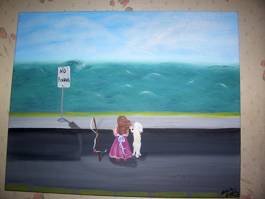 Girl Painting - No Fishing by Hollie Leffel