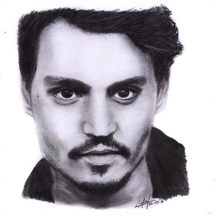 Portrait Drawing - Johnny Depp Drawing By Sofia Furniel by Jul V