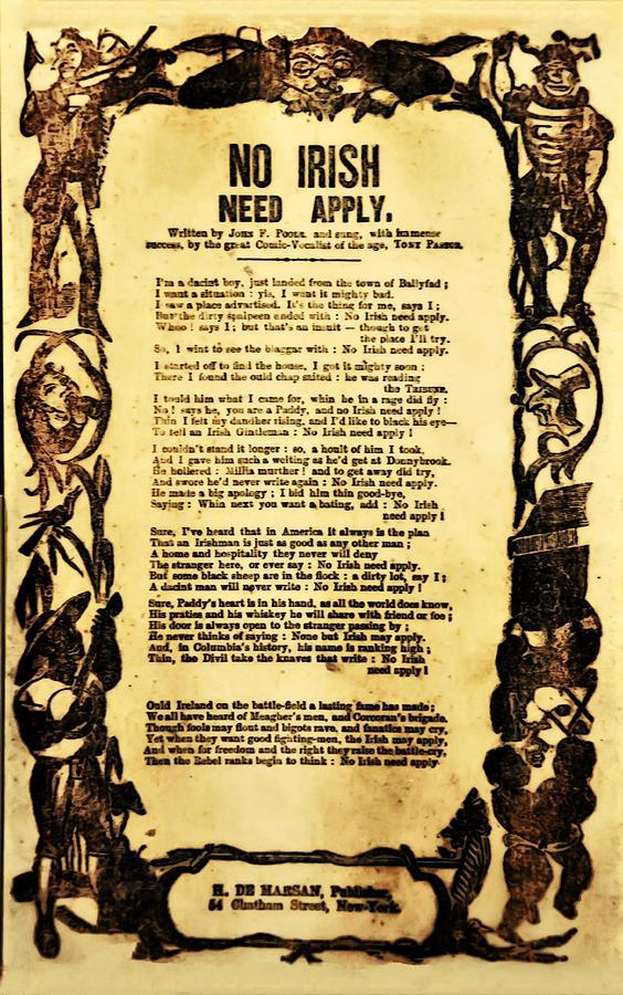 No Irish Need Apply Photograph - No Irish Need Apply by Bill Cannon