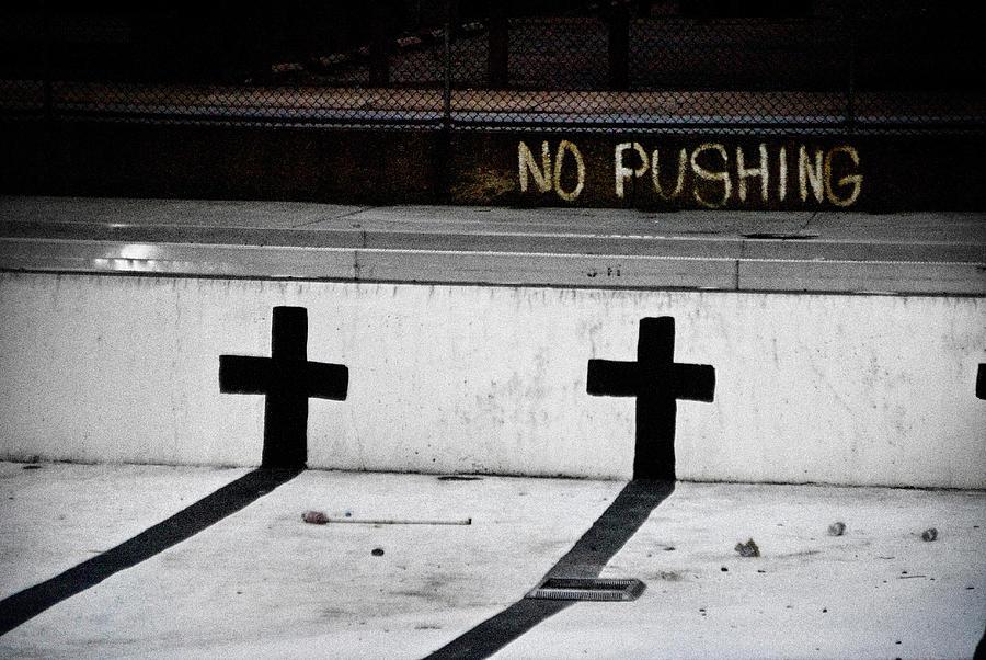 Catholic Photograph - No Pushing by Colleen Joy