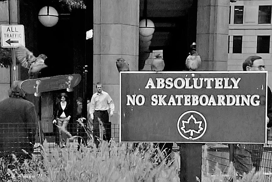 2d Photograph - No Skateboarding by Brian Wallace
