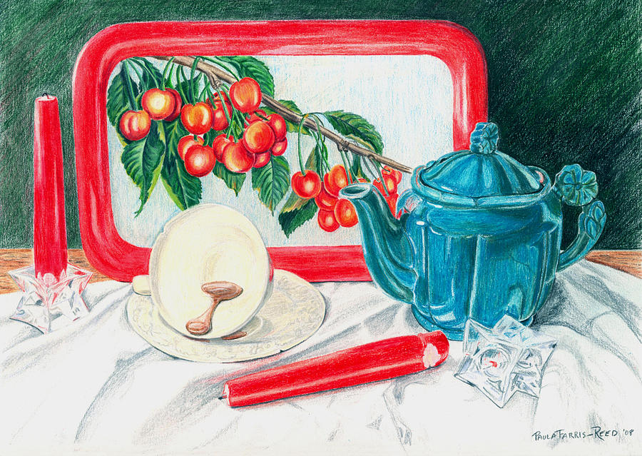 Still Life With Teapot Painting - No Time For Tea by Paula Farris-Reed