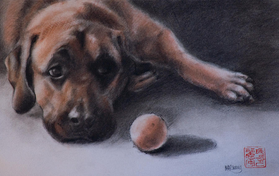 Mastiff Painting - No Time To Play by MaryAnn Cleary