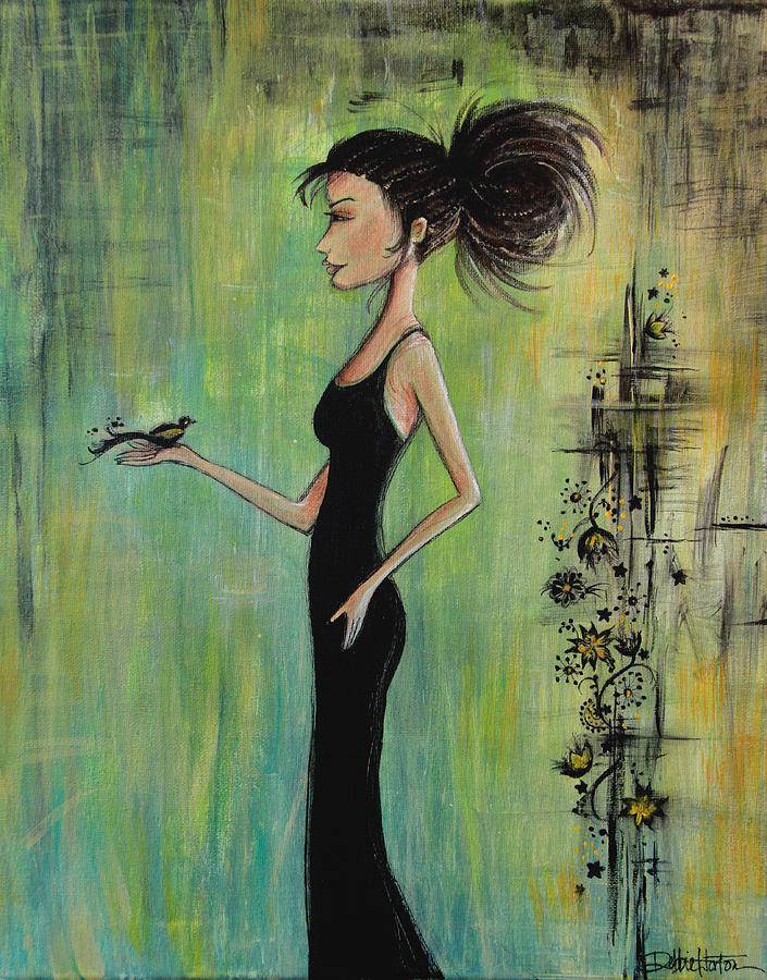 Black Hair Woman Painting - No Voice Above A Whisper by Debbie Horton