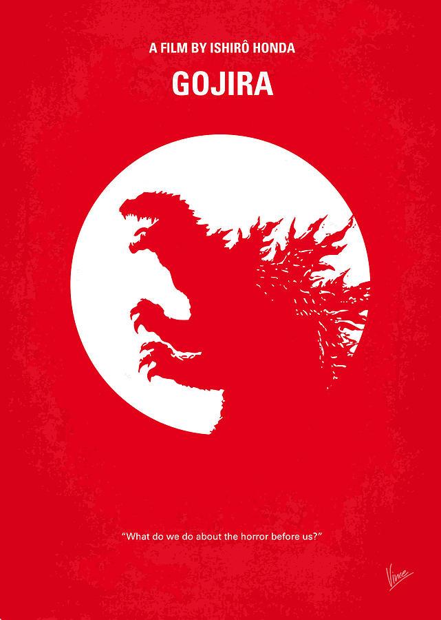 Godzilla Digital Art - No029-1 My Godzilla 1954 Minimal Movie Poster by Chungkong Art