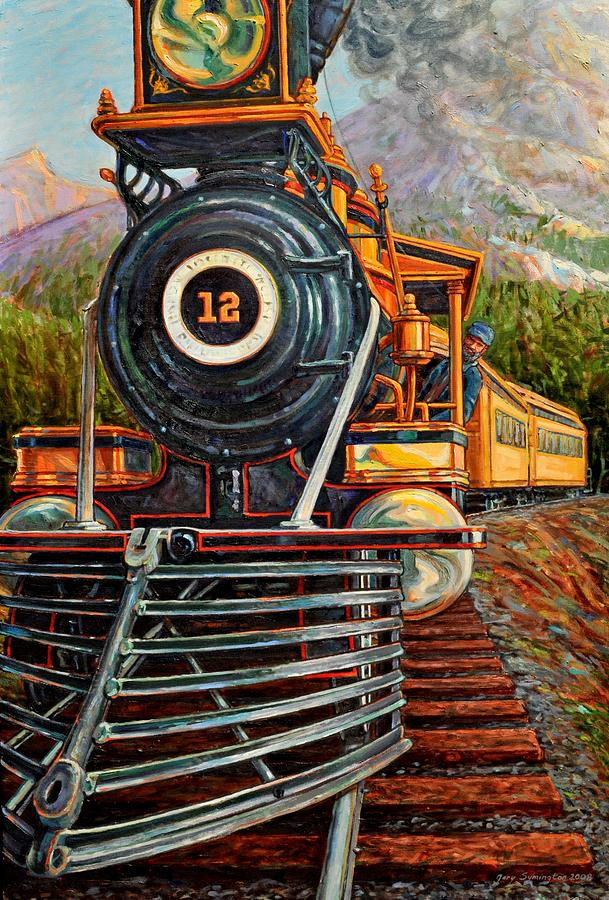 Train Painting - No.12 In The Mountains by Gary Symington