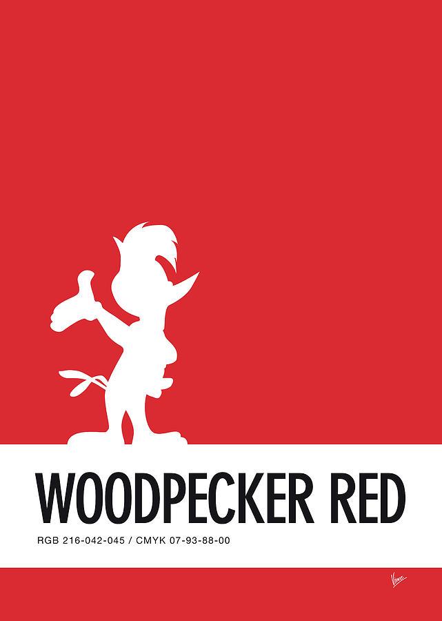 Looney Digital Art - No12 My Minimal Color Code Poster Woody Woodpecker by Chungkong Art