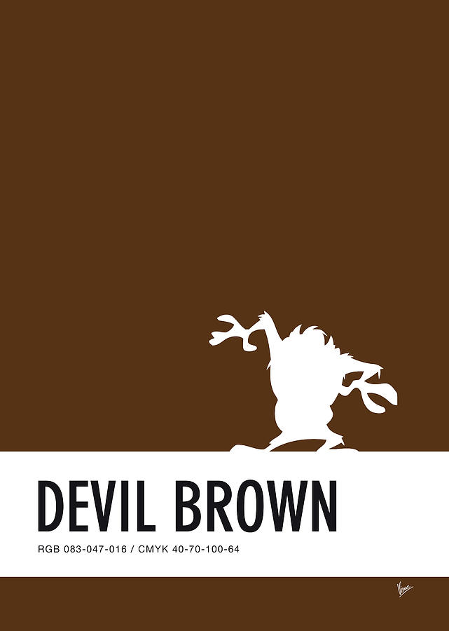 Looney Digital Art - No16 My Minimal Color Code Poster Tasmanian Devil by Chungkong Art